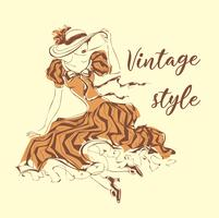 Linda garota usando um chapéu. Estilo vintage . Senhora de vestido retrô. Gráficos de livros. Capas de livro. Imagem feminina romântica. Ilustração vetorial