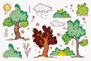Desenhos de natureza doodle vetor