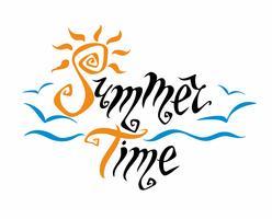 Horário de verão. Lettering Cumprimento. Sol, mar, gaivotas. Conceito de design para o turismo. Vetor.