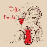 Menina tomando café. Inscrição de coffee break. Estilo dos desenhos animados. Cafeteira e caneca vermelhas. Ilustração vetorial