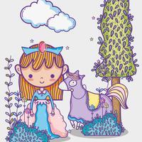 Mundo mágico, pequeno, princesa, mão, desenho, caricatura vetor