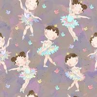 Padrão sem emenda Meninas adoráveis bailarinas dançando. Vetor