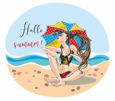 A menina sob o banho de sol do guarda-chuva de praia. Vista do mar. Período de férias. Olá verão. Lettering Vetor.