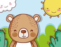 Urso bonito na paisagem vetor