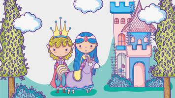 Princesa e princesa bonito mão desenho homem dos desenhos animados com óculos escuros e símbolo de dólar dentro de bolha de bate-papo vetor