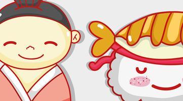 Japonês e sushi bonito kawaii dos desenhos animados