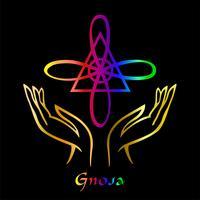 Karuna Reiki. Cura energética. Medicina alternativa. Símbolo Gnosa. Prática espiritual. Esotérico. Palma aberta. Cor do arco-íris. Vetor