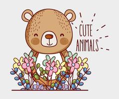 Urso fofo doodle dos desenhos animados vetor
