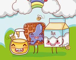 Doce café da manhã kawaii fofos desenhos animados vetor