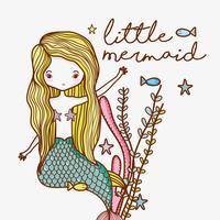 Desenhos animados bonitos da sereia pequena vetor