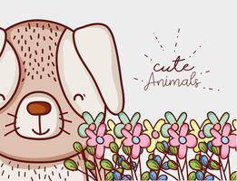 Flores fofos doodle desenhos animados