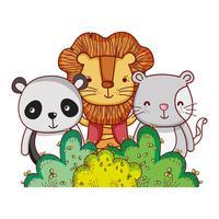 Animais na floresta doodles cartoons vetor