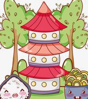 Desenhos animados bonitos do kawaii da comida asiática