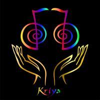Karuna Reiki. Cura energética. Medicina alternativa. Símbolo Kriya. Prática espiritual. Esotérico. Palma aberta. Cor do arco-íris. Vetor