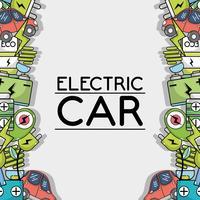tecnologia de carro elétrico para fundo de cuidados de ecologia vetor