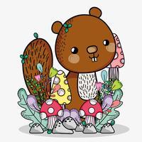 Desenho de doodle de esquilo bonito vetor