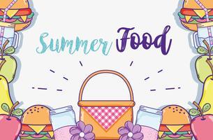 Desenhos animados de comida de verão vetor
