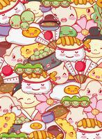 Desenhos animados japoneses do kawaii do fundo da gastronomia
