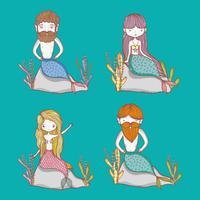 Pequenos desenhos animados bonitos de sereias vetor
