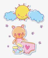 Urso bonito em desenhos animados de dia ensolarado vetor