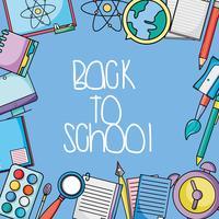 desenho de utensílios de escola para voltar o fundo de classe vetor