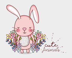 Desenho de doodle de coelho rosa fofo
