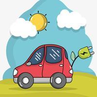 tecnologia de carro elétrico com cabo de alimentação