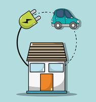 casa com energia de cabo para conexão de carro elétrico vetor