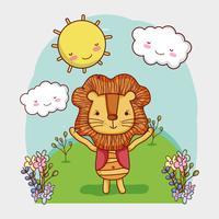 Leão bonito na floresta doodle dos desenhos animados