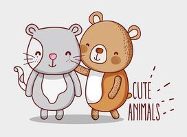 Urso e gato doodle cartoons