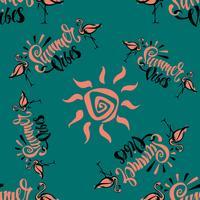Padrão sem emenda Flamingo. Viber de verão. Lettering Impressão de verão elegante. Tropical. Fundo verde. Vetor.