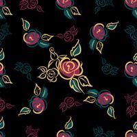 Padrão sem emenda Estampa floral. Rosas buquês. Decorativo. Fundo preto. Vetor.