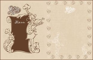 Menu para o café. O cozinheiro chefe e o gato cozinham no estilo dos desenhos animados. Bom apetite. Lettering Estilo vintage. Ilustração vetorial vetor