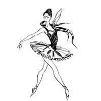 Bailarina a dançar. Balé Gráficos. Dançarino. Ilustração vetorial