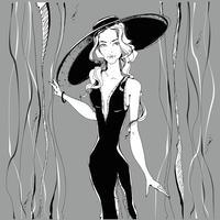 Menina da moda. Modelo de beleza no chapéu. Gráficos. Cinzento. Ilustração vetorial