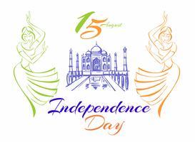 Dia da Independência da Índia. Cartão de saudação Dançando garotas indianas. Taj Mahal Palace. Ilustração vetorial