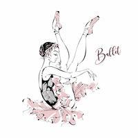 Jovem bailarina. Dançarino. Balé Gráficos. Ilustração vetorial