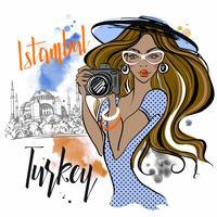 A garota viaja para a Turquia e fotografa os pontos turísticos. Istambul Hagia Sophia. Vetor.