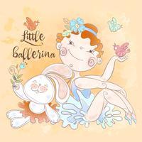 Menina pequena da bailarina com um brinquedo do coelho. Vetor.