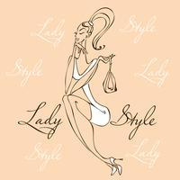 Menina bonita moda jovem. Mulher elegante em roupas da moda. Estilo Lady. A garota com a bolsa. Ilustração vetorial