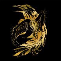 Corvo e anjo. Gráficos. Ouro. Defensor. O Patrono Do Vetor.