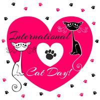 Dia internacional dos gatos. Cartão de férias. Gatos brancos e pretos. Estilo dos desenhos animados. Gatinhos engraçados engraçados. Pegadas de gato. Coração. Ilustração vetorial