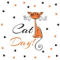 Dia internacional dos gatos. Cartão de férias. Desenho de gato vermelho. Gatinho alegre engraçado. Pegadas de gato. Ilustração vetorial