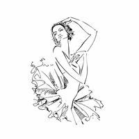 Bailarina. Cisne Branco. Balé Dança. Ilustração vetorial