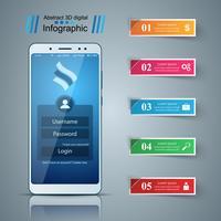 Smartphone, gadget digital - infográfico de negócios. vetor