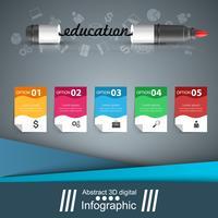 Marcador, ícone da educação. Infográfico de negócios.