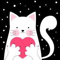 Gato engraçado, fofo. Amor, ilustração