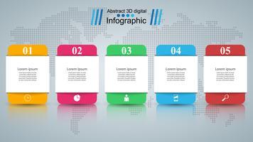 Ilustração digital 3D abstrata Infographic. vetor