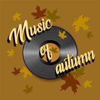A música do outono. Lettering Disco de gramofone. Vetor.