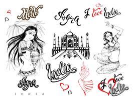 Índia. Conjunto de elementos de design. Agra. Esboço do Taj Mahal. Meninas indianas em traje nacional. Dançarino. Letras elegantes. Viagem. Inscrições terminadas. Vetor.